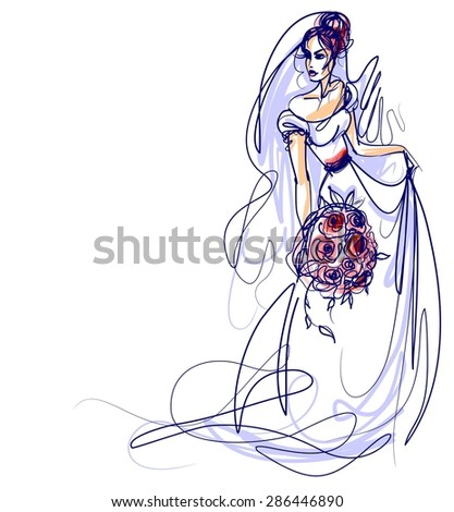 background with a beautiful bride in a wedding dress - stock photo