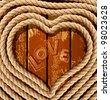 background with a heart of coiled rope on a wooden background - stock vector