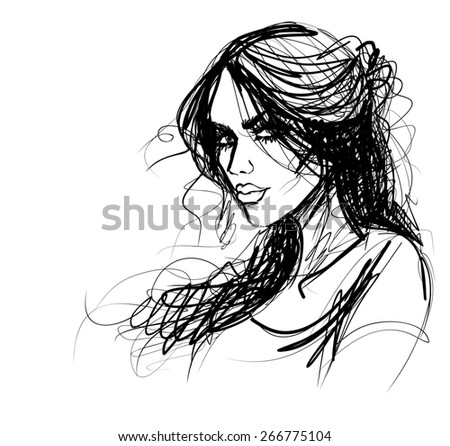 Background with a portrait of the beautiful young girl - stock photo