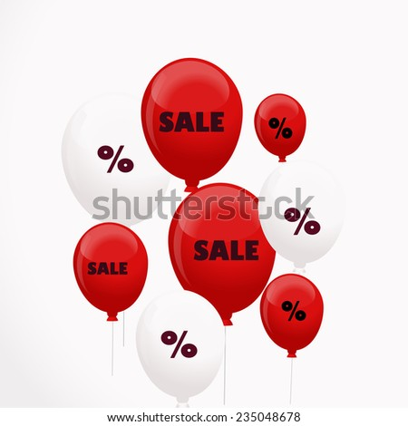 Background with balloons and discounts (raster version) - stock photo