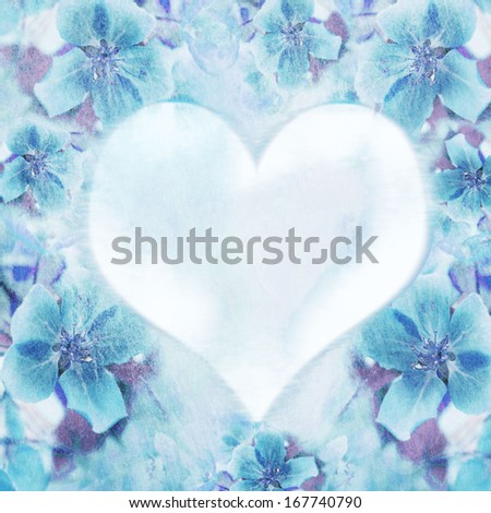 background with heart and flowers - stock photo