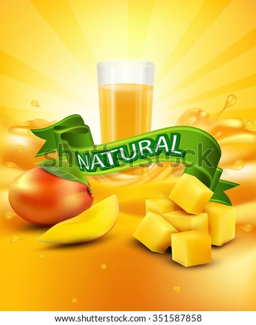 background with mango, a glass of juice, slices of mango, green ribbon - stock photo