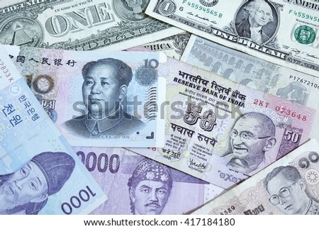Background with many currency,money from many country - stock photo