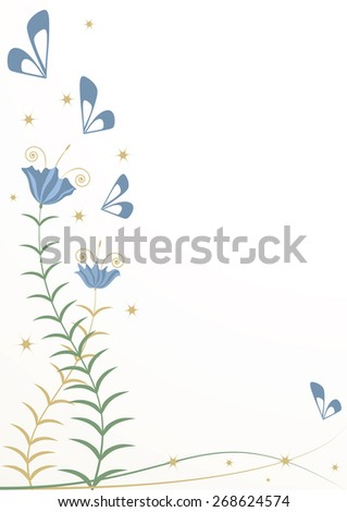 background with stylized flowers and butterflies - stock photo