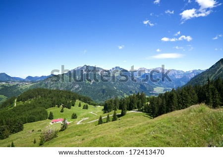"""Bad Hindelang"", ""Hinterstein"", ""Rauhorn"", ""Ponten"", mountains, in ""Oberallgau"", ""Allgau"", bavarian alps, germany - stock photo"