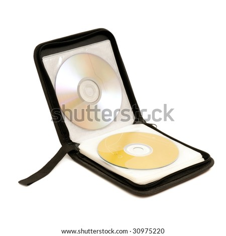 Bag for digital disks isolated on a white background - stock photo