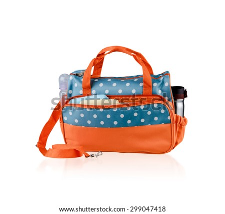 bag for mom to keep baby accessories isolated on white background - stock photo