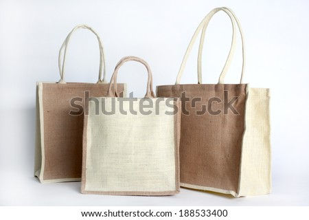 bag for shopping made out of recycled Hessian sack - stock photo