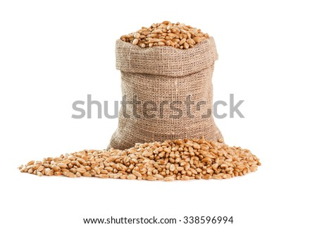 Bag with grain isolated on a white - stock photo