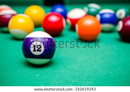 12 Ball from pool or billiards on a billiard table