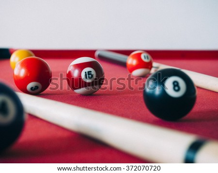 15 Ball from pool or billiards on a billiard table. Selective Focus.Billiard balls on the table. Vintage filtered - stock photo