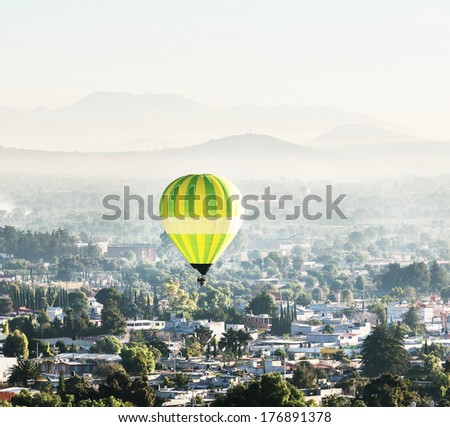 balloon above Teotihuacan - stock photo