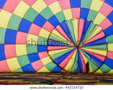 Balloon inflation plus single person - stock photo