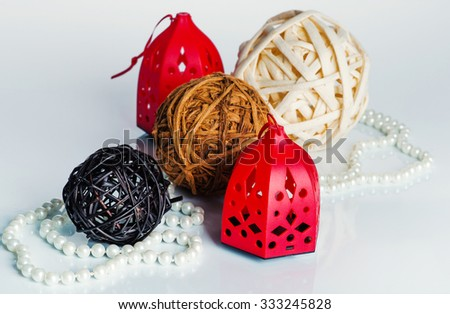 3 balls, pearl beads and  Christmas decorations - stock photo