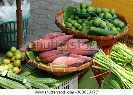 banana blossom And other vegetables Vegetable Market