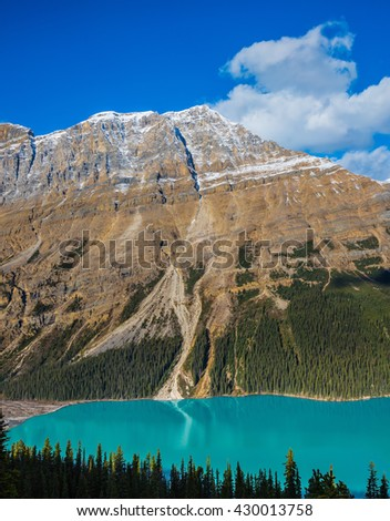 Banff National Park. Canada. Magnificent mountain lake with turquoise glacial water - stock photo