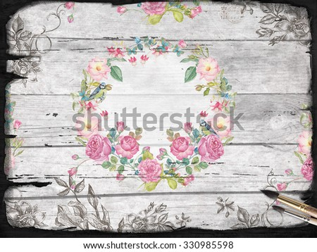 banner for text and watercolor flower's on the wood