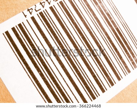 Bar code label used for product identification vintage