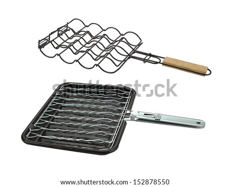 barbecue grill camping basket isolated on white  - stock photo