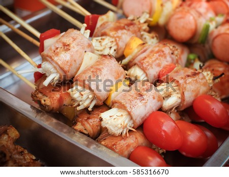 ?Barbecue skewers with sausage and mushrooms, Grill food image