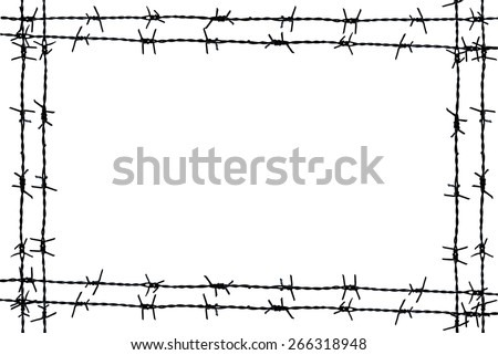 barbed wire frame isolated on white - stock photo