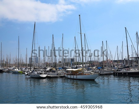 11.07.2016, Barcelona, Spain: Luxury sail yachts in the sea port. - stock photo