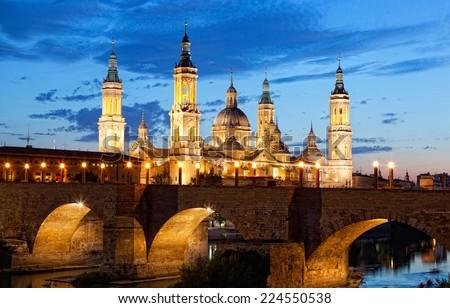 Basilica Del Pilar in Zaragoza in night illumination, Spain - stock photo