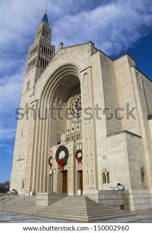 Basilica of the National Shrine of the immaculate Conception, Washington, DC, USA. - stock photo