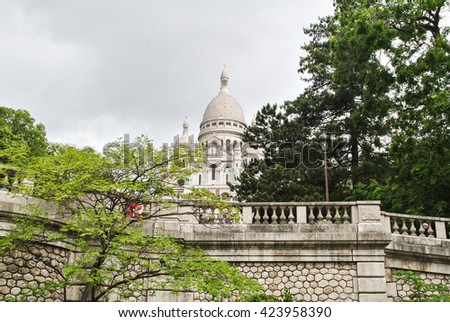 Basilica of the Sacre-Coeur. Situated at the cityâ??s highest point on Montmartre hill.
