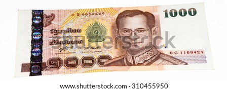 1000 bath bank note. Bath is the national currency of Thailand