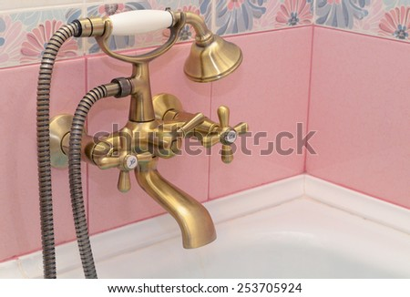 bath mixer in a classic style of Provence - stock photo