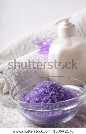 bath salt with towel - stock photo