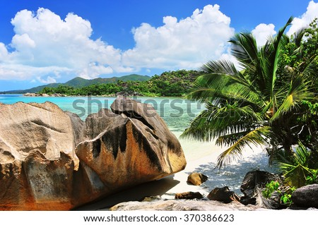 Bay on Island Curieuse, Seychelles, Paradise and Giant Rocks