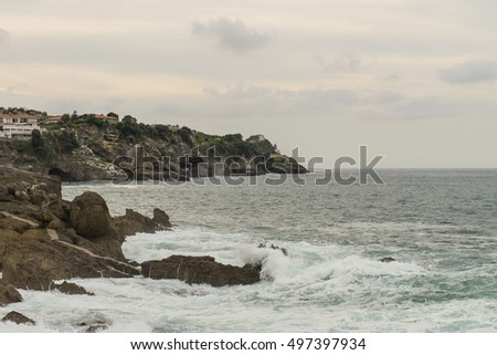 Beach and urban view ,Lekeitio town, Vizcaya, Basque Country, Spain.
