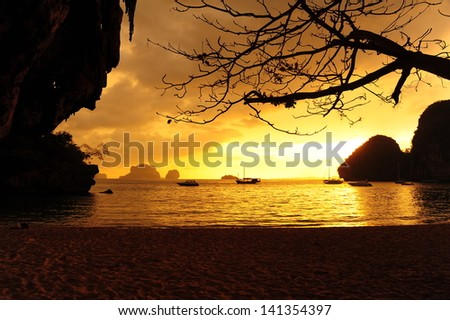 Beach at Sunset Background