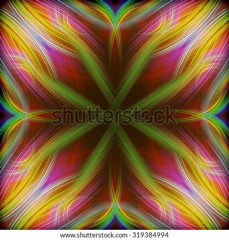 beautiful abstract composition of curved bands on a dark background  - stock photo