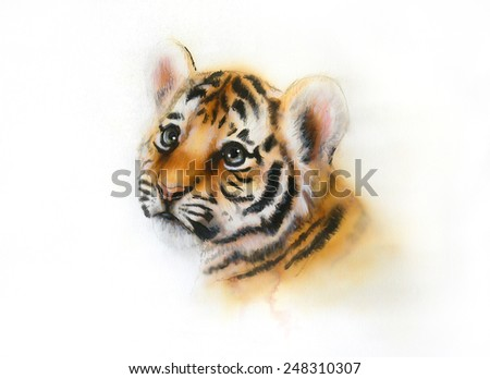 beautiful airbrush painting of an adorable baby tiger head looking up, on abstract blurry background