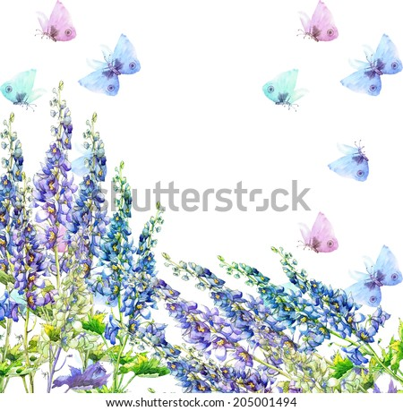 Beautiful Blue Delphinium Flowers and Butterflies Frame. Watercolor hand painting illustration. - stock photo