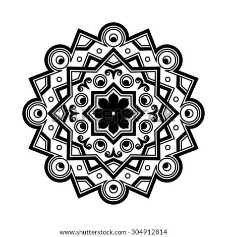 Beautiful Deco Black monochrome Mandala, Patterned Design Element,  yoga logo for your design. Ethnic Amulet. Yoga design. Yoga mandala.illustration - stock photo