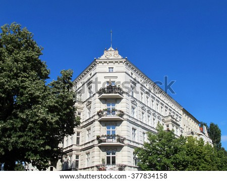 beautiful facade of an old house in Berlin Kreuzberg