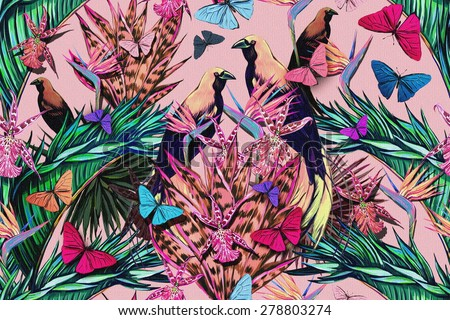 Beautiful fashionable seamless floral jungle pattern background. Watercolor exotic birds, tropical flowers, palm leaves and plants, butterflies, bird of paradise flower, orchid, exotic print - stock photo