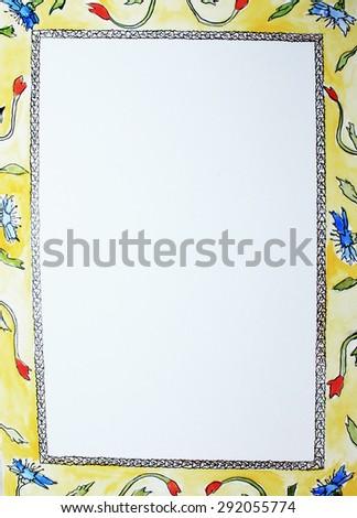 Beautiful frame, Yellow frame or Flower frame, Interesting frames - stock photo