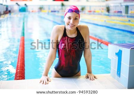 beautiful girl  at the pool - stock photo