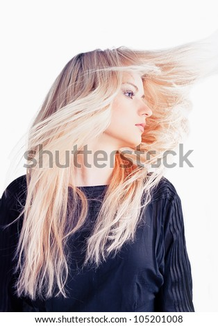 Beautiful girl with blond hair - stock photo