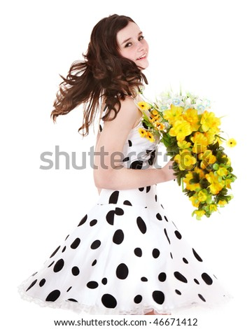 Beautiful girl with wild flower. Isolated.
