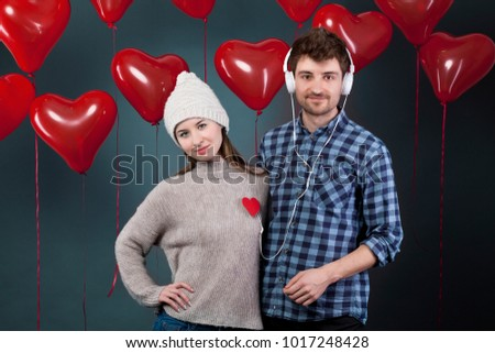 Beautiful Happy couple celebrating  Valentine's Day. Holiday party.