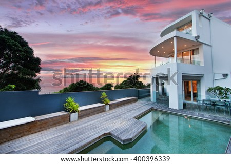 Beautiful house swimming pool yard stock photo 400396339 for Beautiful house with swimming pool