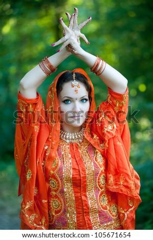 beautiful Indian bride - stock photo
