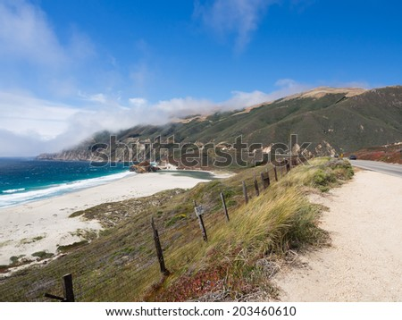 beautiful landscape of pacific coastline, Big Sur on Highway 1, CA, USA  - stock photo