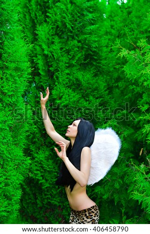 beautiful model with angel wings